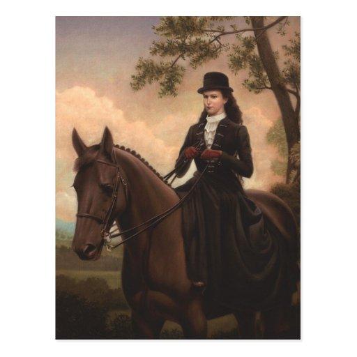 Silla para montar a mujeriegas #025SS del caballo Tarjeta Postal