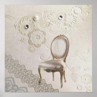 silla rococó París de la lámpara femenina romántic Posters