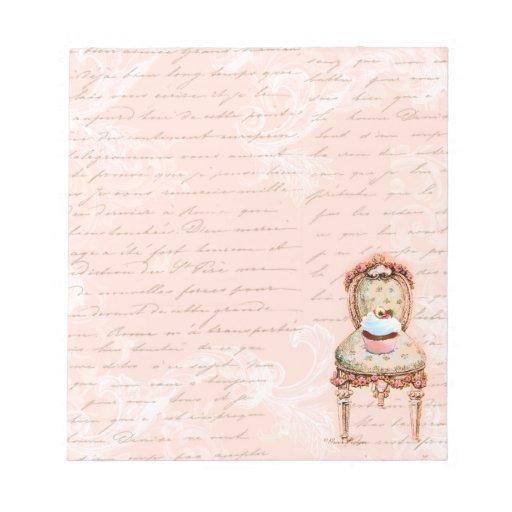 Silla rosada de la magdalena n blocs de papel