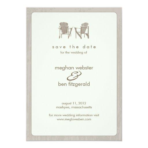 """Sillas de Adirondack que casan reserva la fecha Invitación 5"""" X 7"""""""