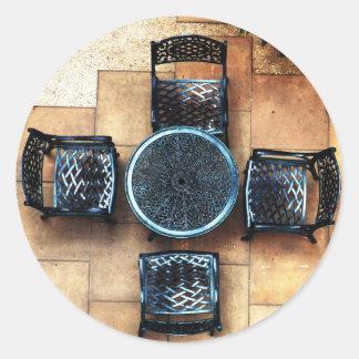 Sillas de jardín pegatina redonda