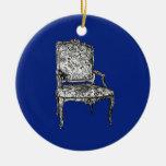 Sillas de la regencia en azul marino adornos de navidad