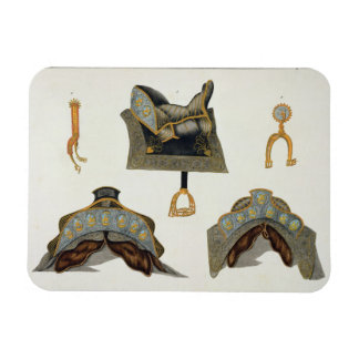 Sillas de montar y estímulos, placa 'de una histor iman rectangular