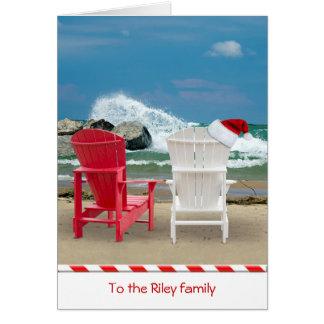 Sillas de playa del navidad tarjeta de felicitación