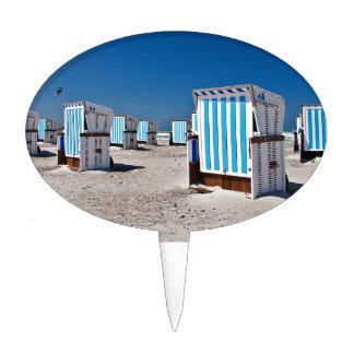 Sillas de playa en la orilla del mar Báltico Figura Para Tarta