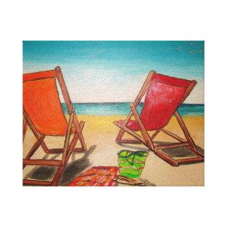 Sillas de playa lienzo envuelto para galerías