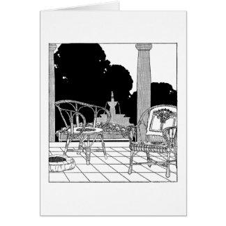 Sillas del sauce en la terraza tarjeta de felicitación