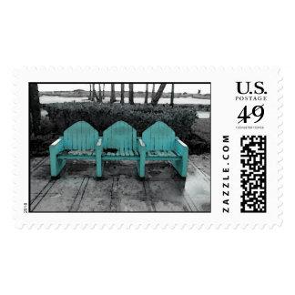Sillas del sur de la playa tres timbres postales
