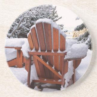 Sillas Nevado Adirondack en foto del invierno Posavasos Personalizados