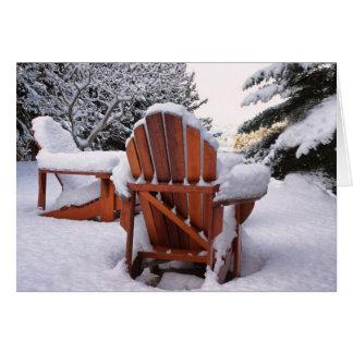 Sillas Nevado Adirondack en foto del invierno Tarjetas