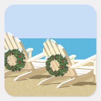 Sillas y guirnaldas de playa pegatina cuadrada
