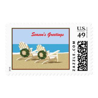 Sillas y guirnaldas de playa sello postal