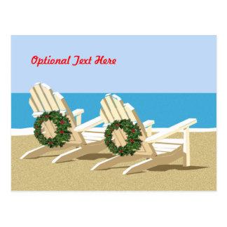 Sillas y guirnaldas de playa postales