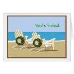 Sillas y guirnaldas de playa tarjetas
