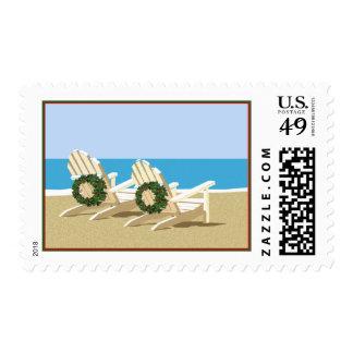 Sillas y guirnaldas de playa timbre postal