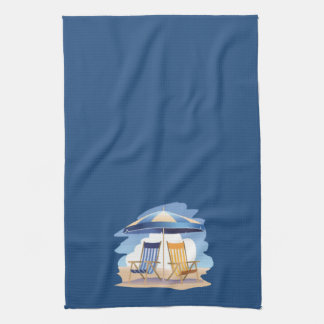 Sillas y paraguas rayados de playa en azul de DK Toalla