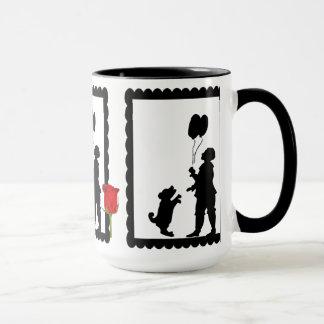 SIllhouette mug, Child with a dog and balloon Mug
