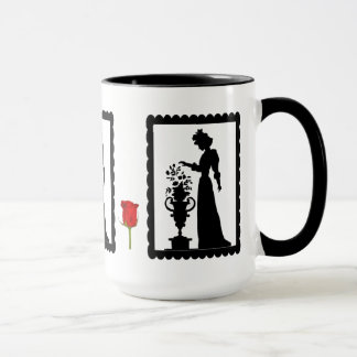 SIllhouette mug, Flowers on a pedestal Mug