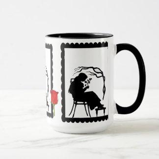 SIllhouette mug, Girl with a flower Mug