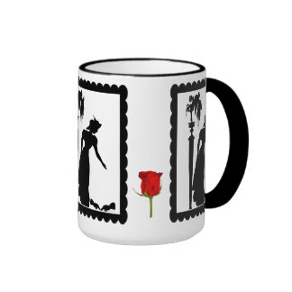 SIllhouette mug, Lady with birds Ringer Mug