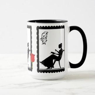 SIllhouette mug, Lady with embroidery Mug