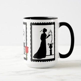 SIllhouette mug, lady with flowers Mug