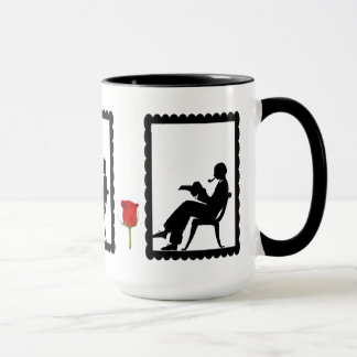 SIllhouette mug, Man with a book Mug
