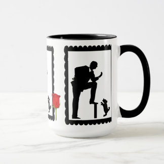 SIllhouette mug, man with dog Mug