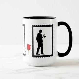 SIllhouette mug, Man with flowers Mug