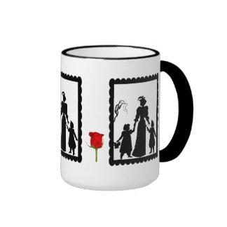 SIllhouette mug, Mother and daughters Ringer Coffee Mug