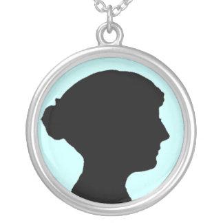 sillhouette Of Jane Austen 2 Round Pendant Necklace