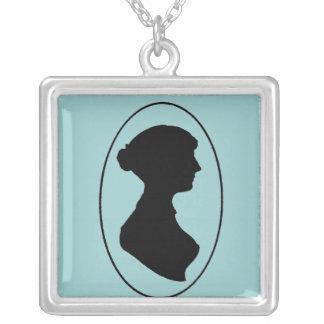 sillhouette Of Jane Austen 2 Square Pendant Necklace