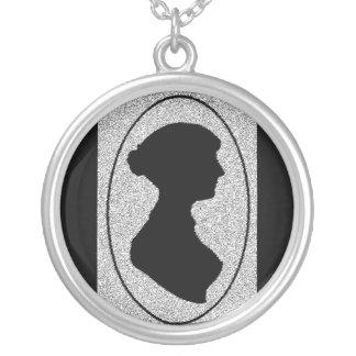sillhouette Of Jane Austen Round Pendant Necklace