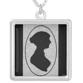 sillhouette Of Jane Austen Square Pendant Necklace
