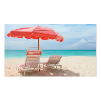Sillones en la playa del océano plantilla de tarjeta de negocio