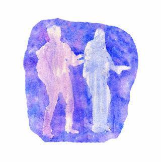 Sillouttes del Watercolour de dos guitarristas azu Escultura Fotografica