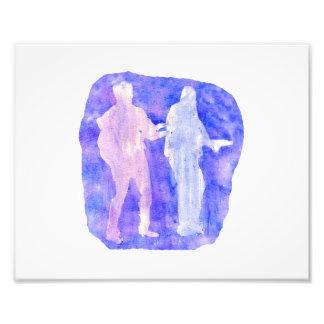 Sillouttes del Watercolour de dos guitarristas azu Impresión Fotográfica