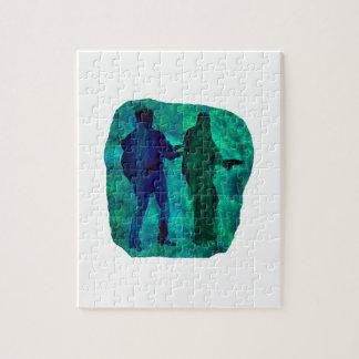 Sillouttes del Watercolour del trullo de dos guita Rompecabeza