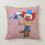 Silly 3d  Clown on Unicycle with Umbrella (editabl Pillows