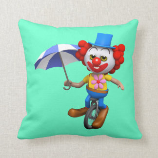 Silly 3d  Clown on Unicycle with Umbrella (editabl Throw Pillow