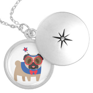 Silly 4th of July Pug Round Locket Necklace