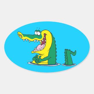 silly alligator crocodile cartoon character oval sticker