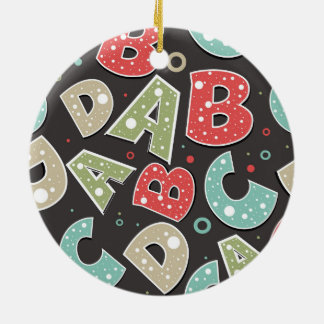 Silly Alphabet Letters A-B-C-D Ceramic Ornament