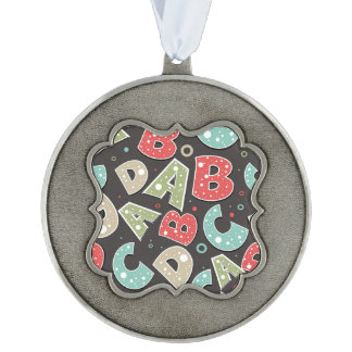 Silly Alphabet Letters A-B-C-D Ornament