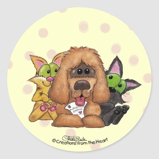 Silly and Tig with Sassie-Pet Adoption is LOVE Classic Round Sticker