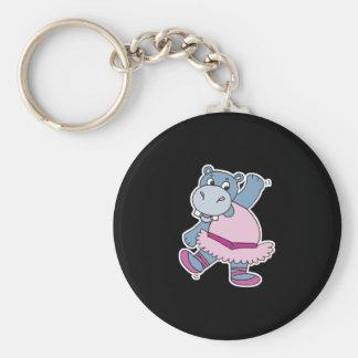 silly ballerina hippo basic round button keychain