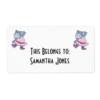 silly ballerina hippo label