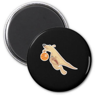 silly basketball playing kangaroo refrigerator magnet