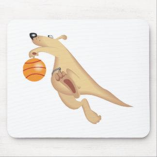 silly basketball playing kangaroo mouse pad