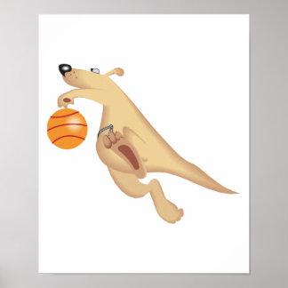 silly basketball playing kangaroo poster